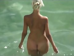 Perfect hot blonde couple and lickerish chap on high a nudist beach