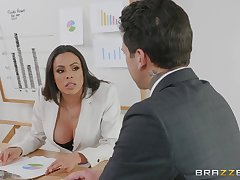 bossy foetus Luna Star gets her pussy pounded around the office by a dude