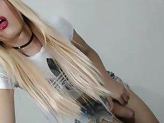 fine blonde ladyman Masturbating On high web camera