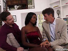A handful of white dudes fuck face and wet dark pussy of ebony shrew Kandie Monaee
