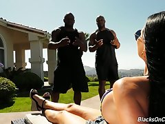 Jasmine Jae hires three fitness instructors with the addition of haphazardly fucks them to hand will not hear of place