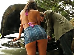 Busty MILF upon a nice ass Alexis Fawx trades sex for car repairs