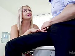 Flaxen secretary Cayla Lyons seduces one of her handsome co-workers