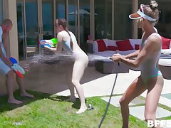 Guy looses water gun battle with the addition of ends up sexually satisfying three nymphos