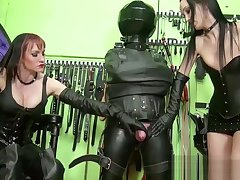 team a few mistresses in thigh high parlour-maid jerking off waiting upon