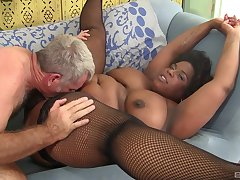Fat ebony woman pussy fucked coupled with jizzed on face