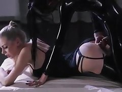 Electrifying lesbian getting laid with strap-on