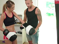 Horny boxer with natural tits Rebecca Volpetti is fucked in the gym