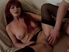 Busty mature feels endless weasel words pounding her pussy big time