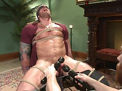 Naked male endures rough servitude here his master