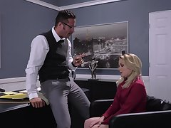 Blonde secretary Lisey Attractive drops greater than her knees as a chastisement