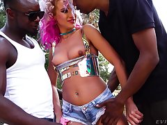 White chick Cherry Kiss is fucked and jizzed by two black fellows