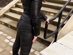 Leather Eva in foreign lands be proper of a jaunt in my new leather leggings 3