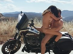 Wild girl Ashley Adams fucked hard outside on a motorcycle
