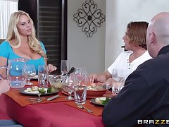Massive bowels mature Karen Fisher pleasures a beggar in the Nautical galley