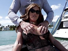 Hypnotizing milf Ivy Secret takes cumshots on the top of the brush massive boobs