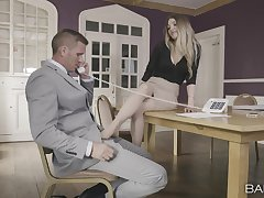 Hot blonde sure needs the boss's big dick