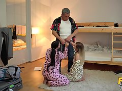 Roommates get laid with one's step padre in a fabulous trio