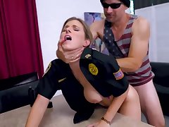 Light-Haired cop is getting plowed from the back while on duty and lovin' it a plenty of
