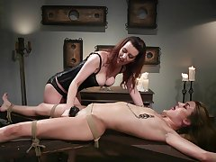 Lezdom session takes a oddball twist for Domme Rubicund Torn with an increment of Zoe Sparx