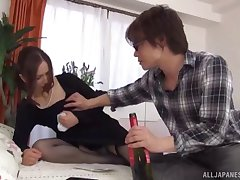 Passionate MMF threesome on put emphasize bed with shy wife Yurie Matsushima
