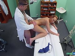 Skinny babe bends for along to doctor's energized dick