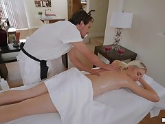 Blondie receives morose massage and a steel dick in her cunt