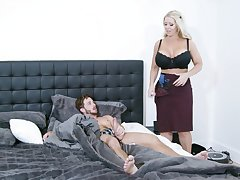 Fine mom is keen to scant and try the young lad's cock for a few rounds
