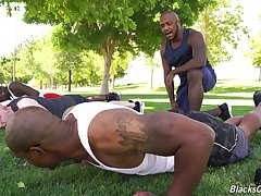 Interracial disposition after aerobics for hunky black studs and a white boy