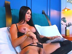 Big Tits Latina Shemale In Black Lingerie With the addition of Stockings Camshows Solo