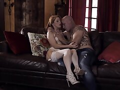 Tattooed bald stud fucks the shit out of naughty Penny Pax imam