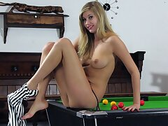 Homemade video of naughty Holly Anderson playing heavens the pool table