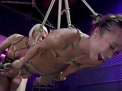 Blonde bit of crumpet is torturing her brunette slavegirl