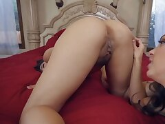 A handful of bonny lesbians are licking each other in POV