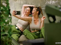 Army girls Alexis Fawx and Olive Glass pleasure always other's cravings