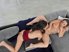 Sweet girls Cali Carter adn Vina Sky are lovemaking on chum around with annoy couch